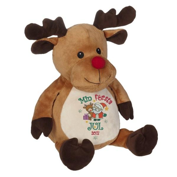 """Gosedjur ren med texten """"Min första jul"""" broderad på magen."""