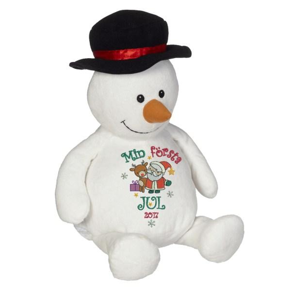 """Gosedjur snögubbe med texten """"Min första jul"""" broderad på magen."""