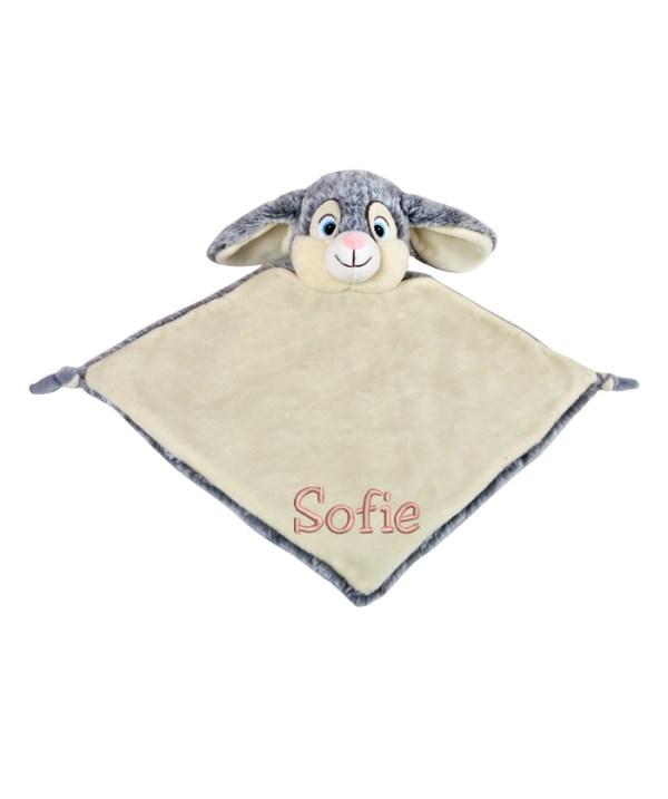 Kaninen Clovis är en mjuk snuttefilt som gillar att bli kramad