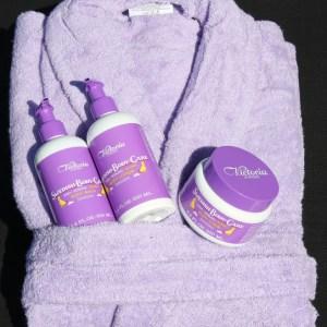 Lyxigt Morsdag-paket med badrock i frotté och kroppsvård