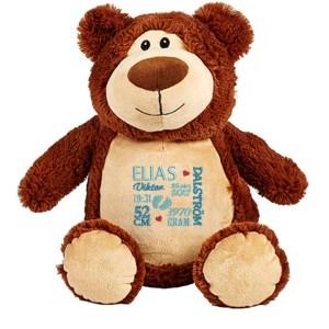 Gosedjur jumbo brun björn med personligt namn broderat på magen