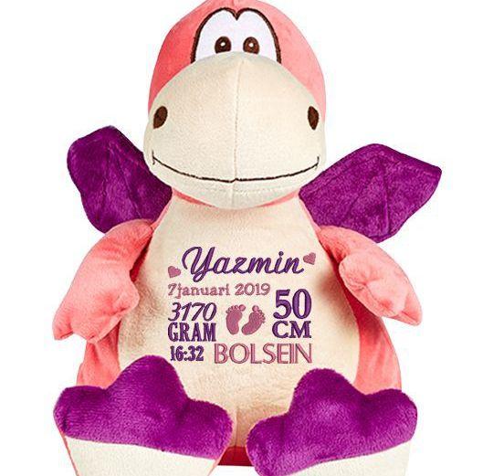 Gosedjur Drake i rosa och lila med brodyr på magen