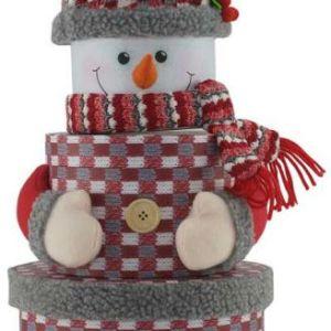 Brodyrverksta´n AB En lekfull och annorlunda presentförpackning i form av en snögubbe, 3-delad och ca 37 cm hög i uppackad form. Tillverkad i kartong med tryck och textildekorationer.