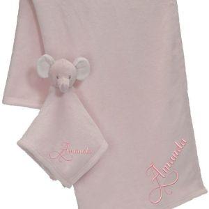 Brodyrverksta´n AB - Snuttefilt set Elefant rosa, 1 snutte filt med ett mjukt och gosigt huvud, 1 mjuk och härlig filt att gosa med. Båda med personlig brodyr