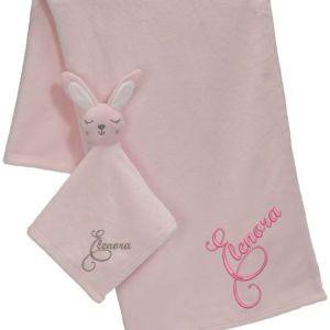 Brodyrverksta´n AB - Snuttefilt set Kanin rosa, 1 snuttefilt med ett mjukt och gosigt huvud, 1 mjuk och härlig filt att gosa med. Båda med personlig brodyr
