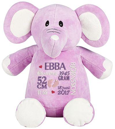 Brodyrverksta´n AB - Gosedjur elefant lila med en personlig brodyr på magen