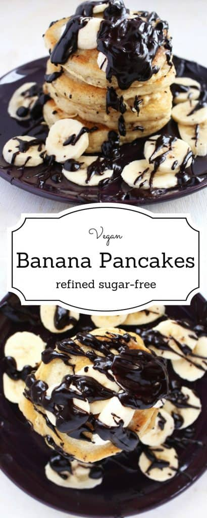 Vegan Banana Pancakes | Forget about your old greasy unhealthy pancakes and enjoy these guilt free, refined sugar-free vegan banana pancakes. Topped with a dark chocolate ganache that'll keep you coming back for more | BrokeFoodies.com