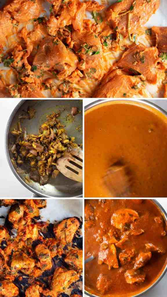 Keto Chicken Tikka Masala, step by step collage