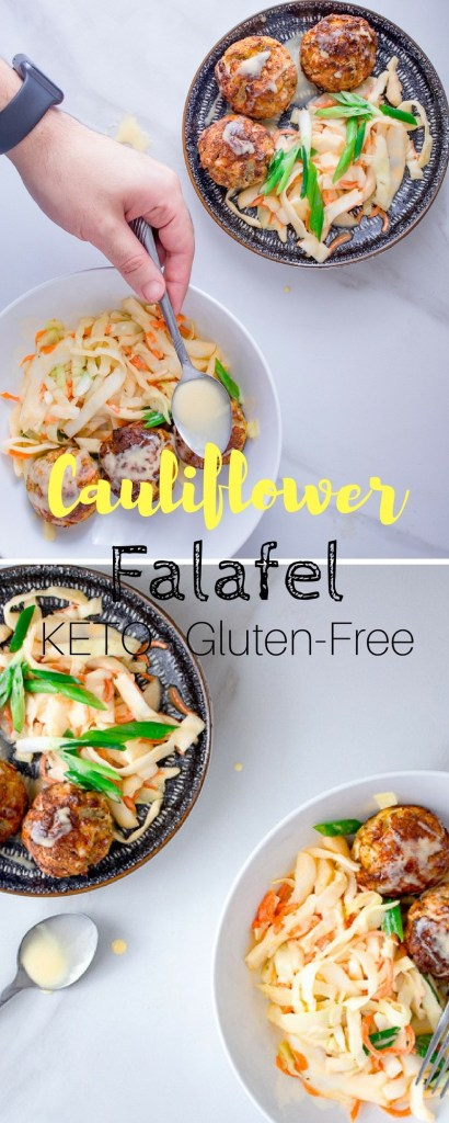 Keto Falafel - These low-carb falafel are served with a simple coleslaw topped with a sour & sweet mayonnaise.