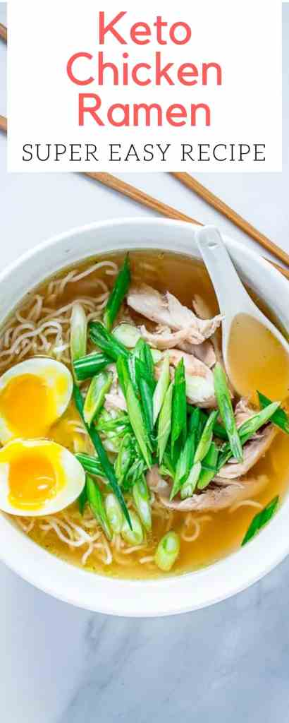 Easy Keto Chicken Ramen - This low-carb ramen recipe requires very little work and is immensely satisfying. #keto #easy #recipe #ramen #soup