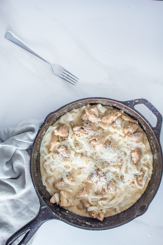 Keto Fettuccine Alfredo in cast iron pan