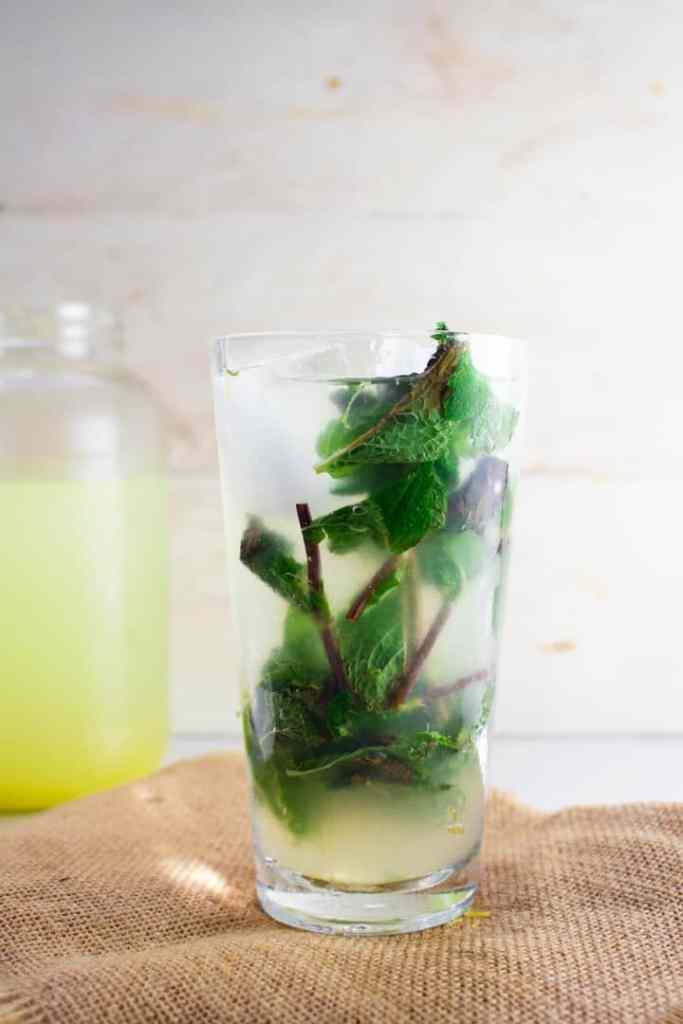 Keto lemonade with mint stalks
