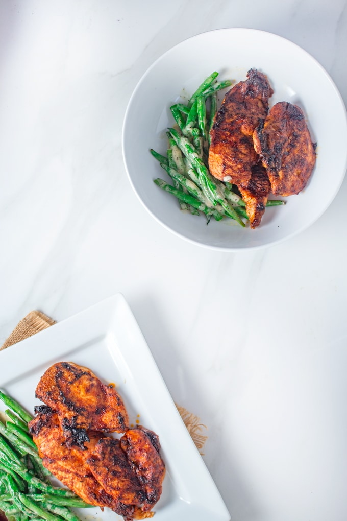 Cajun-Style Grilled Chicken | Keto Dinner Recipe | This easy Low-Carb dinner is both sweet & spicy and is served with a side of crunch green beans.