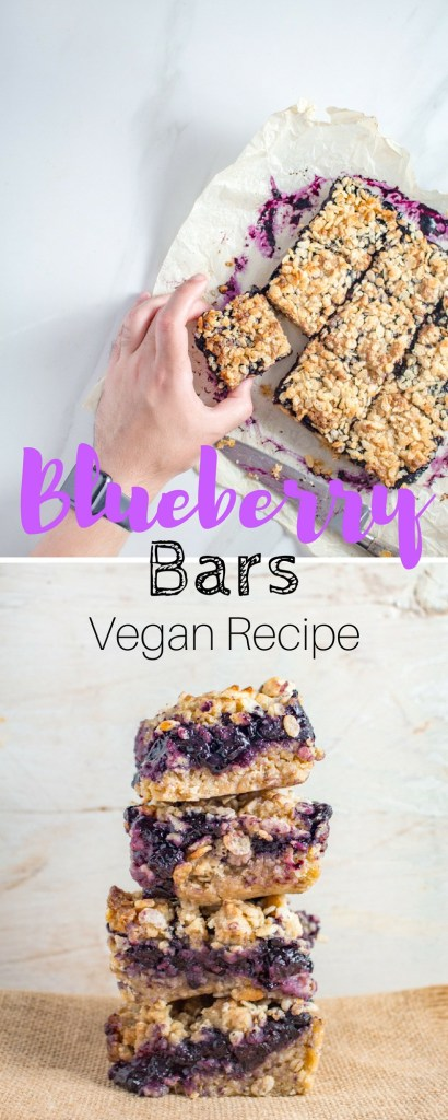 Summer Blueberry Bars | Vegan Recipe | This easy summer treat is made with a simple oatmeal crust and topped with an oatmeal crumble & Rice Krispies. | #vegan #dessert #bars #blueberry #recipe #veganfood #veganrecipe