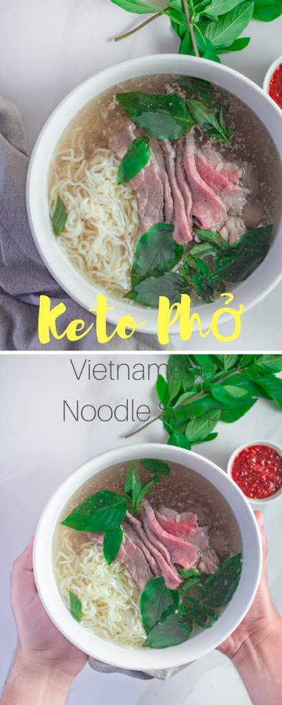 Keto Pho | Vietnamese-Style Noodle Soup | This easy keto noodle soup is made using a rich beef broth and is served with thinly sliced flank steak. | #keto #soup #easy #recipe #dinner #pho