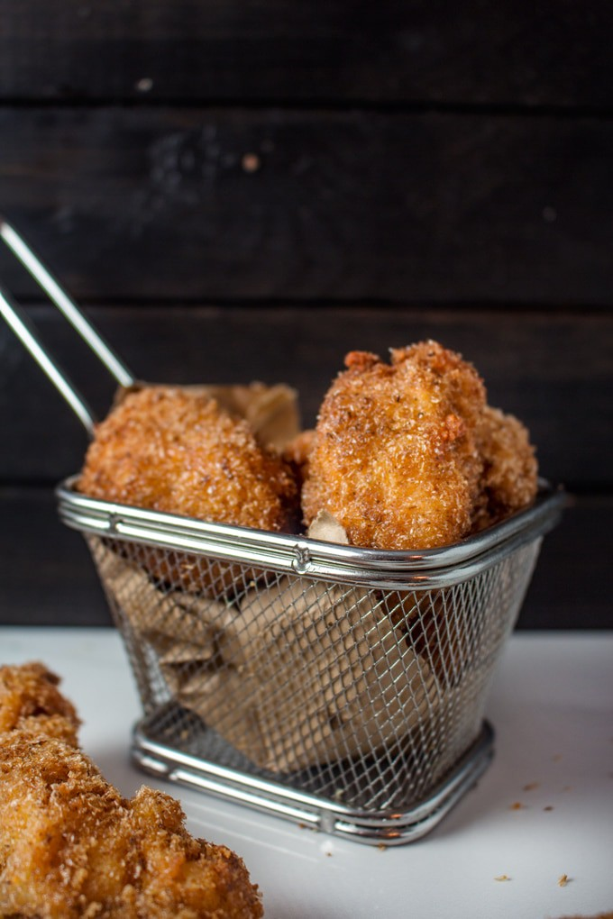 Keto Chicken Nuggets in a little frying basket