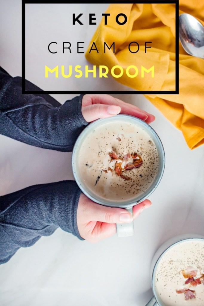 Cream of Mushroom soup on white surface