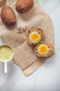Keto Scotch Eggs on a surface