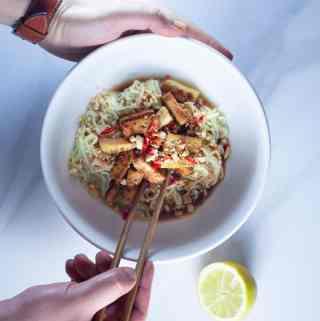 Keto Vegan Breakfast Bowl in white bowl