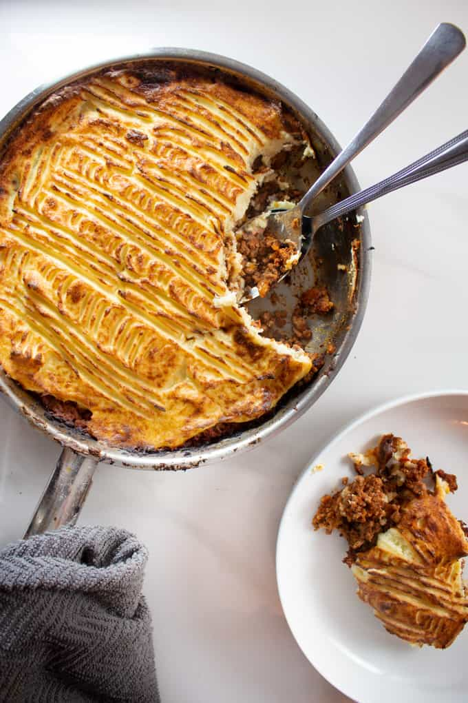 Keto Shepherd's Pie served in a skillet