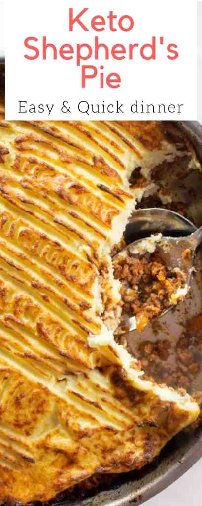 Keto Shepherd's Pie -- This low-carb Shepherd's Pie is easy, quick and made with wholesome ingredients. If you're looking to impress in the holiday season, you can't go wrong with this!