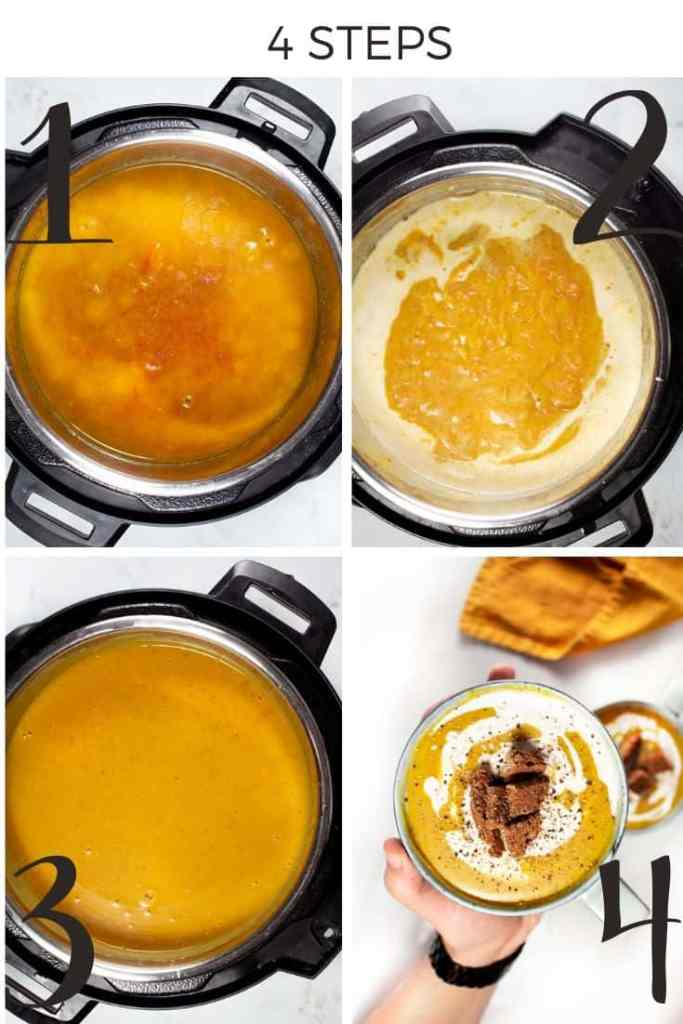 Creamy Red Lentil Soup : Step by step collage
