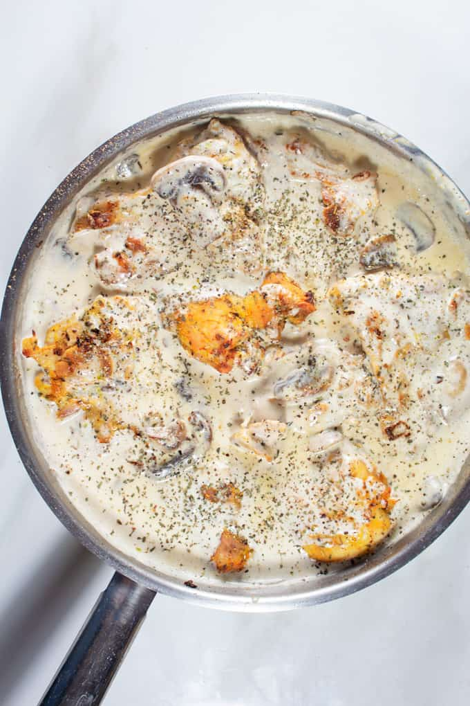 Garlic Creamy Chicken served in a skillet