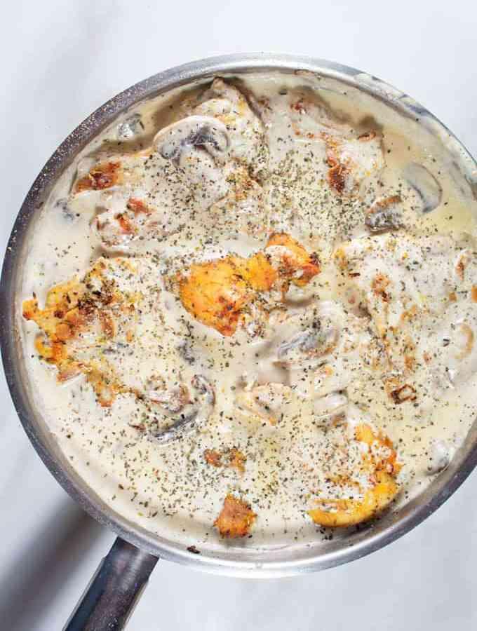 Garlic Creamy Chicken served in a skillet