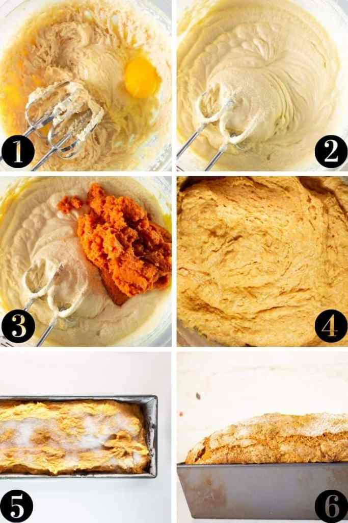 step-by-step collage showing how to make pumpkin bread