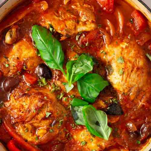 Chicken Cacciatore served in a casserole.