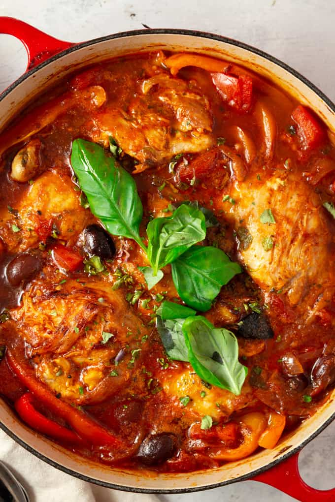 Chicken Cacciatore served in a casserole.