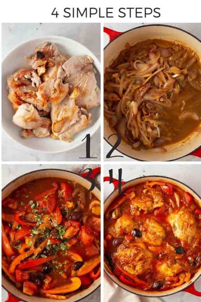 Step-by-step collage explaining how to make paleo chicken cacciatore.