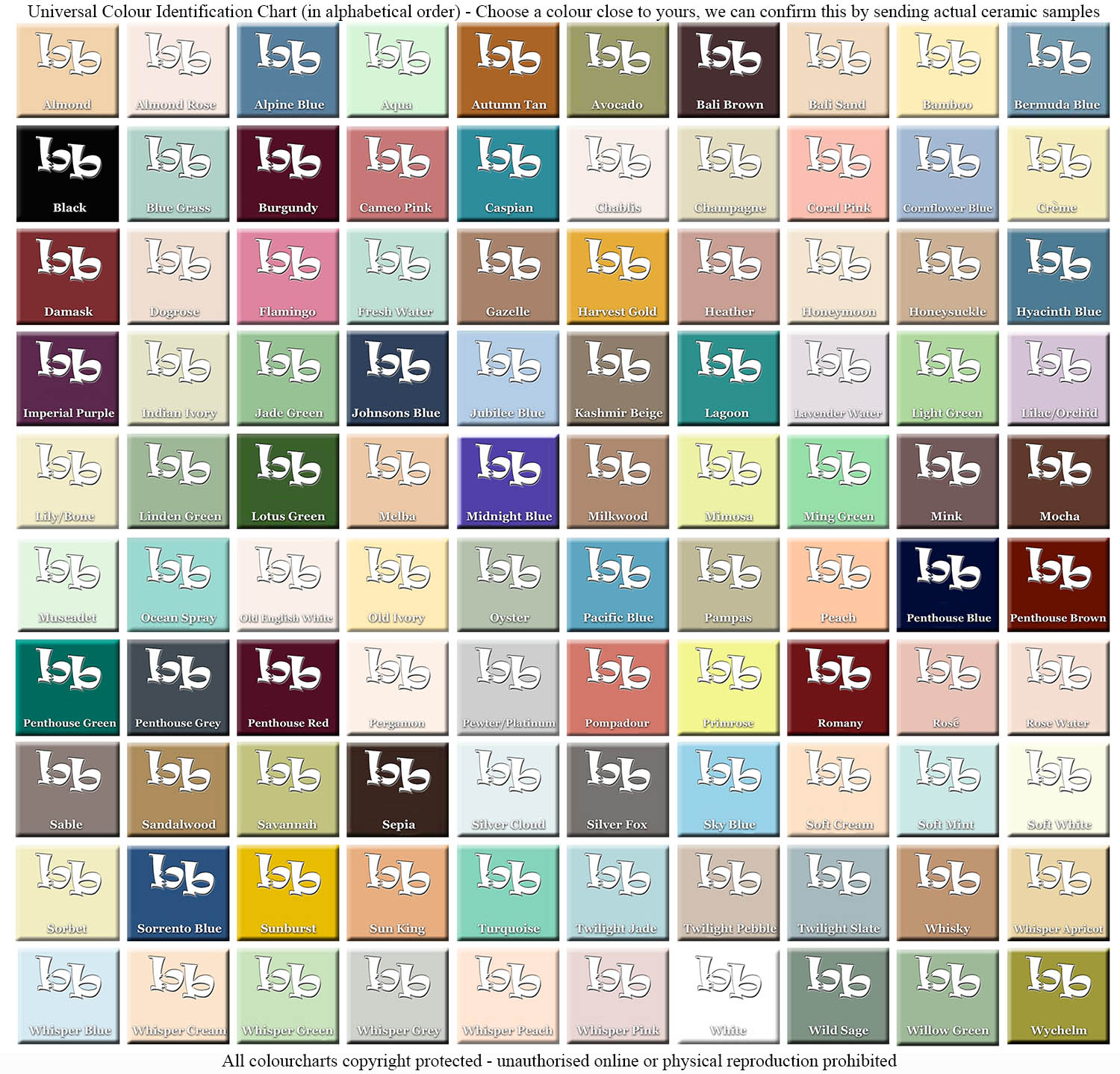universal bathroom colour chart all makes discontinued bathroomware