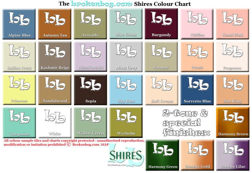 Bathroom colourchart Shires