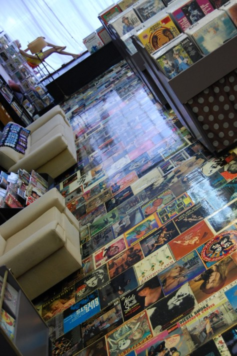 The floors of this store are amazing.  Yes, those are record sleeves.