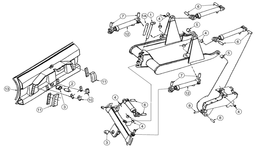 Dresser TD8G Dozer Blade Parts- Pins, Bushings, Cutting Edges
