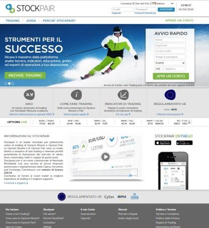 Stockpair homepage opzioni binarie broker