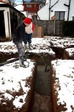 Concrete pump in use