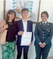BRONTE: SCUOLA E LEGALITA' LE FIAMME GIALLE PREMIANO ANDREA