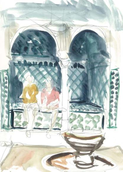 Sultans' bath Alhambra , drawing