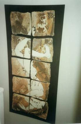 Falling man -ceramic wall panel