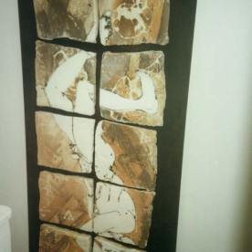 Falling man -ceramic wall panel