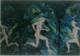 Running men tile panel