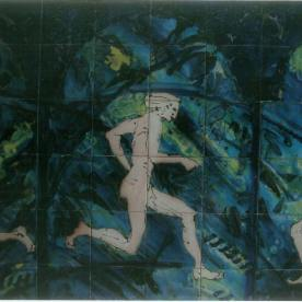 Running men tile panel