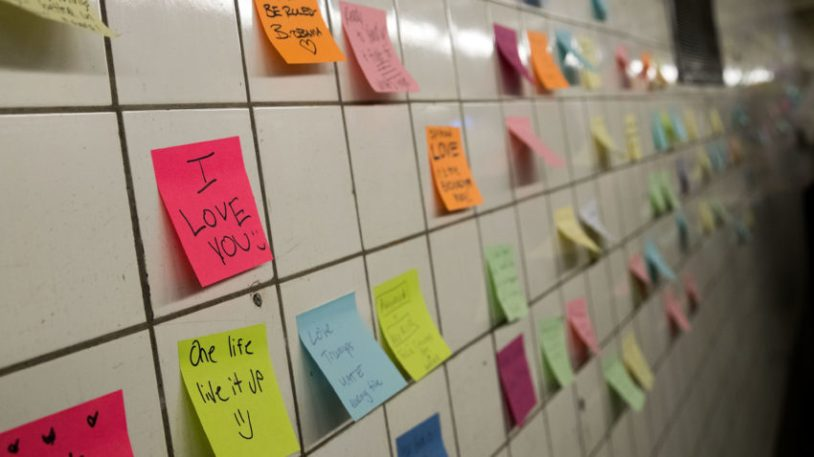 NEW YORK, NY - NOVEMBER 10: Post-it notes, many with politically themed messages, hang on a wall at the 6th Avenue subway station as part of a public art project entitled 'Subway Therapy,' November 10, 2016 in New York City. Artist Matthew Chavez, who goes by 'Levee,' created the 'Subway Therapy' wall to offer New Yorkers a chance to write down their feelings in the wake of the presidential election. (Photo by Drew Angerer/Getty Images)
