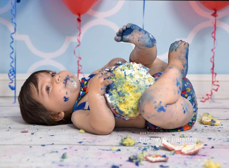 baby boy studio cake smash session