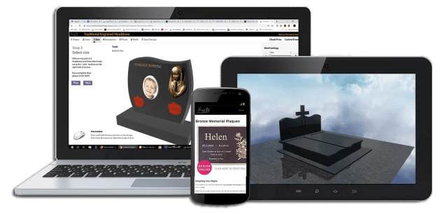 Multiplatform engine allows you to design bronze plaque online from any device such as apple, android, laptops, or tablets.