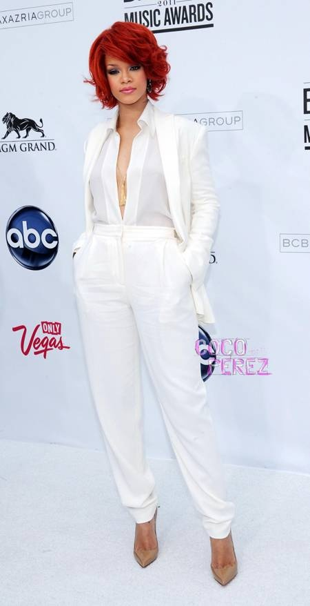 Rihana in white tuxedo