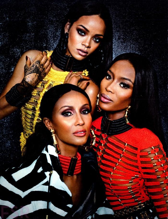 Balmain editiorial feat Iman, Naomi and Rihanna3