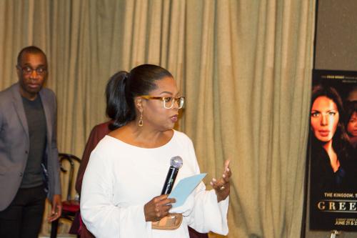 Executive Producer Oprah Winfrey (right) intros the GREENLEAF cast